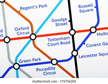 London, United Kingdom - Feb 11, 2014: A close up of one section of the London Underground Map on February 11th, 2014. London Underground carries more than one billion passengers a year