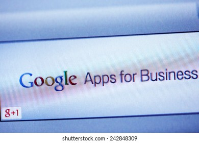 LONDON, UNITED KINGDOM - FEB 26, 2014: Google Apps for Business advertising as seen on a display. A service from Google that provides independently customizable versions of several Google products