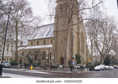 London, United Kingdom - Feb. 28 2018: St.Saviours Church in Pimlico, in a snowy day