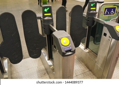 London, United Kingdom - February 01, 2019: Detail on Oyster turnstile gates at London Bridge underground station. Oystercards with electronic tickets are used mostly for transport in UK capital