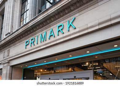 London, United Kingdom - February 01, 2019: Large cyan sign on Primark store at their Oxford Street branch. Irish fashion retailer was founded 1969 and has now more than 350 stores worldwide