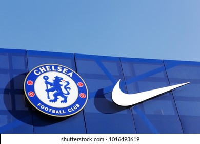 London, United Kingdom - February 1, 2018: Chelsea football club and Nike logo on a wall at Stamford Bridge stadium. Chelsea and Nike have signed a long term kit deal and partnership in 2017
