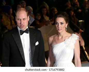 London, United Kingdom - February 10, 2019: Prince William, Duke of Cambridge and Catherine, Duchess of Cambridge attend the EE British Academy Film Awards at Royal Albert Hall in London, UK.