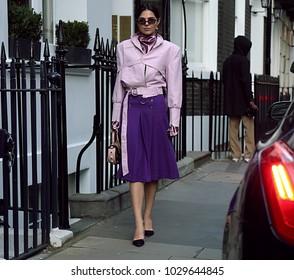 LONDON, United Kingdom- February 16 2018: Doina Ciobanu on the street during the London Fashion Week