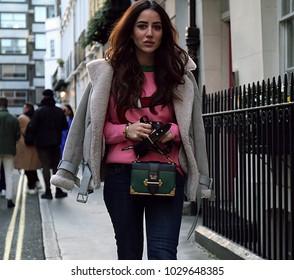 LONDON, United Kingdom- February 16 2018: Jessica Wang on the street during the London Fashion Week