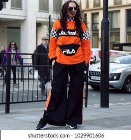 LONDON, United Kingdom- February 16 2018: Woman on the street during the London Fashion Week