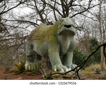 London, United Kingdom - February 16, 2019:The Crystal Palace Dinosaurs:sculptures of dinosaurs and other extinct animals,unveiled in 1854 as the first dinosaur sculptures in the world.