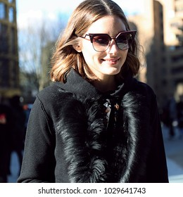 LONDON, United Kingdom- February 17 2018: Olivia Palermo on the street during the London Fashion Week