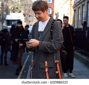 LONDON, United Kingdom- February 17 2018: Steve Salter on the street during the London Fashion Week