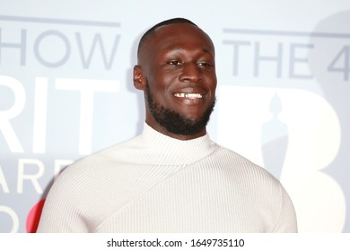 London, United Kingdom- February 18, 2020: Stormzy attends the Brit Awards at the 02 Arena in London, UK.