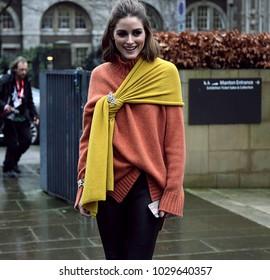 LONDON, United Kingdom- February 19 2018: Olivia Palermo on the street during the London Fashion Week