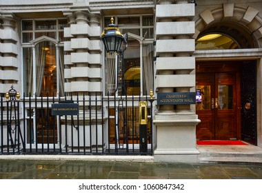 London / United Kingdom - February 19, 2018: Entrance to the ICAEW (Institute of Chartered Accountants of England and Wales) office in London, Moorgate