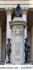 London, United Kingdom - February 2 2016: Western side of the London Troops War Memorial, outside the Royal Exchange in the City of London