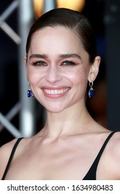 London, United Kingdom- February 2, 2020: Emilia Clarke attends the British Academy Film Awards at the Royal Albert Hall in London, UK.