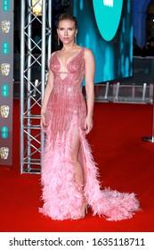 London, United Kingdom- February 2, 2020: Scarlett Johansson attends the British Academy Film Awards at the Royal Albert Hall in London, UK.
