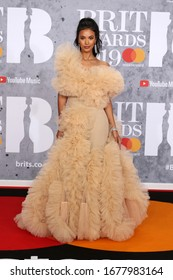 London, United Kingdom- February 20, 2019:  Maya Jama attends The BRIT Awards at the O2 Arena in London, UK.