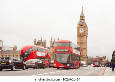 LONDON, UNITED KINGDOM - FEBRUARY 22 2017: red London bus and Big Ben in background. London city, UK