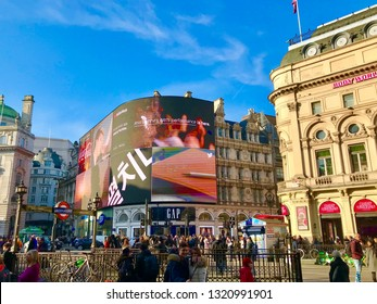 London, London / United Kingdom - February 22 2019: Piccadilly Circus busy with tourists daytime