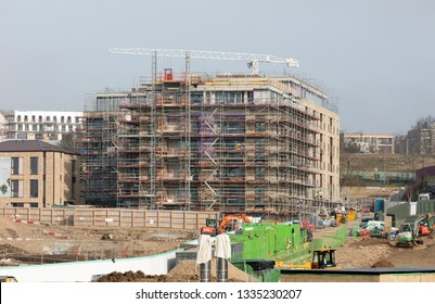 London, United Kingdom - February 22, 2019 : A new building under construction in London on February 22, 2019
