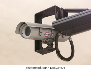 London, United Kingdom - February 22, 2019: Security camera at a London underground platform. The network now carries 1.23 billion passengers a year
