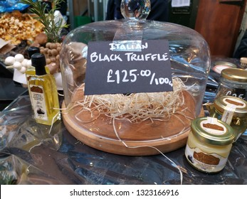 London, United Kingdom - February 24, 2019: Borough Market, one of the oldest, largest, and the most popular food markets in Southwark, London. Black truffles