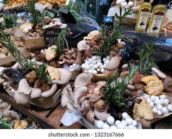 London, United Kingdom - February 24, 2019: Borough Market, one of the oldest, largest, and the most popular food markets in Southwark, London. Mushroom boxes