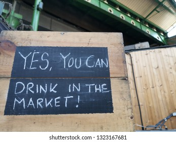 London, United Kingdom - February 24, 2019: Borough Market, one of the oldest, largest, and the most popular food markets in Southwark, London. Craft beer shop sign