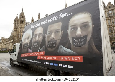 London, United Kingdom - February 27, 2017: Stop the Silence. A campaign was launched in London to speak up for the people whose voices want to be heard in the Brexit process.