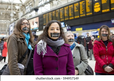 London, United Kingdom - February 27, 2017: Stop the Silence. A campaign was launched in London to speak up for the people whose voices want to be heard in the Brexit process but are being silenced.
