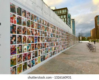 London, London / United Kingdom - February 28 2019: The Face magazine wall exhibition in Kings Cross St Pancras