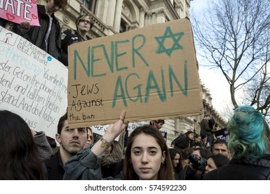 London, United Kingdom - February 4, 2017: Stop Trump March. A protest march was held in London to call for the Trump instigated ban on seven Muslim countries to be lifted.