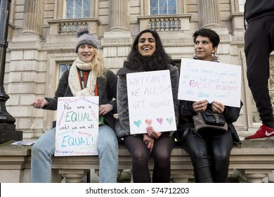 London, United Kingdom - February 4, 2017: Stop Trump March. A protest march was held in London to call for the American president Trump's  ban on the Muslim countries to be lifted.