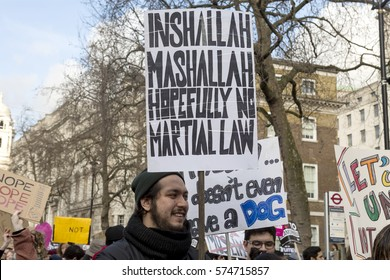 London, United Kingdom - February 4, 2017: Stop Trump March. A protest march was held in London to call for the ban on the Muslim countries to be lifted.
