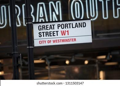 London, United Kingdom, February 7th 2019, Sign for Great Portland Street