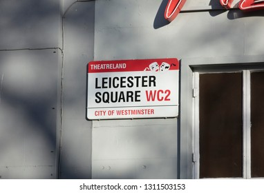London, United Kingdom, February 7th 2019, Sign for Leicester Square