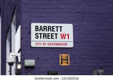 London, United Kingdom, February 7th 2019, Sign for Barrett Street