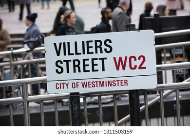 London, United Kingdom, February 7th 2019, Sign for Villiers Street