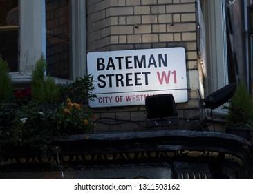 London, United Kingdom, February 7th 2019, Sign for Bateman Street