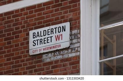 London, United Kingdom, February 7th 2019, Sign for Balderton Street