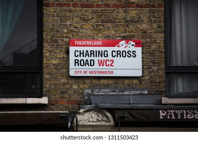 London, United Kingdom, February 7th 2019, Sign for Charing Cross Road