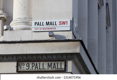 London, United Kingdom, February 7th 2019, Sign for Pall Mall