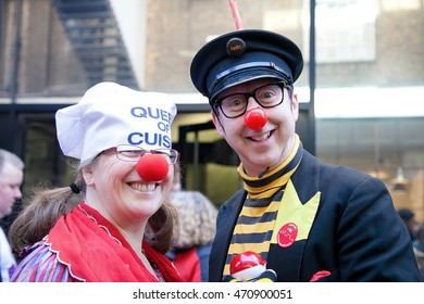 London, United Kingdom. February 9th, 2016 - Teams of fours dressed up in different costumes and took in the annual Great Spitalfields Pancake Race on Shrove Tuesday.