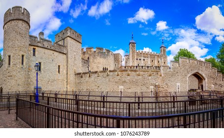 London, The United Kingdom of Great Britain: Tower of London, UK,  seen from the exterior walls