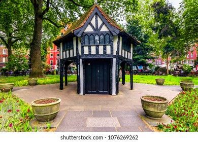London, The United Kingdom of Great Britain: Tipical british architecture in a park in London