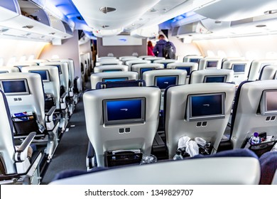 London, United Kingdom : Interiors of British airways Airbus A380 airplane. The Airbus A380 is a double-deck, wide-body, four-engine jet airliner