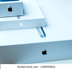 LONDON, UNITED KINGDOM - JAN 14, 2015: Side above view of new Apple MacBook Pro laptop computer with fast processors and GPU unboxing with
