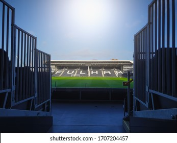 LONDON, UNITED KINGDOM - JANUARY 01, 2020: The view from the stands where the sun is shining brightly above Fulham Football Club.