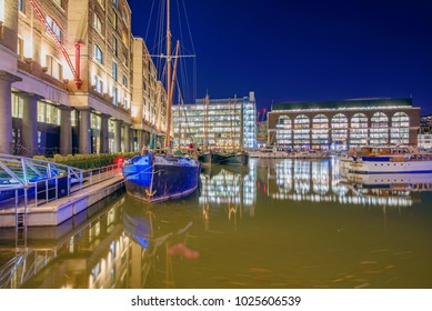 LONDON, UNITED KINGDOM - JANUARY 05: This is a night view of the famous St Katharine Docks, an office and harbor area in central London on January 05, 2018 in London