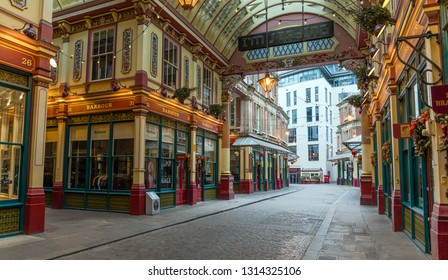 LONDON, UNITED KINGDOM - JANUARY 1: Leadenhall Market on January 1, 2019 in London. Leadenhall Market is a covered market located in the historic centre of the City of London financial district.