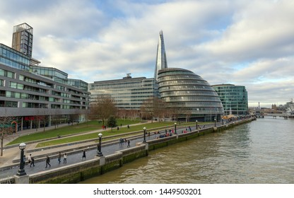 LONDON, UNITED KINGDOM - JANUARY 1: The London City Hall on January 1, 2019 in London.  It is located in Southwark, on the south bank of the River Thames near Tower Bridge.